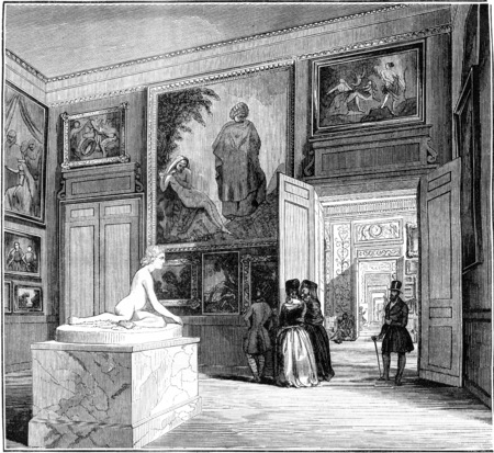 magasin pittoresque: Museum of Bordeaux, View of the second room, vintage engraved illustration. Magasin Pittoresque 1845.