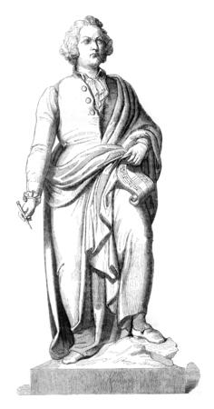 Mozart statue in bronze, after the model of Schwanthales has Saltsburg, vintage engraved illustration. Magasin Pittoresque 1845.