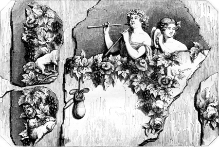 vintage: Bacchant and Bacchante, Fragment of an ancient painting, vintage engraved illustration. Magasin Pittoresque 1844.