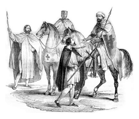 templars: Templars, vintage engraved illustration. Magasin Pittoresque 1844. Stock Photo
