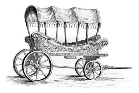 vintage: Araba car of Turkish women, vintage engraved illustration. Magasin Pittoresque 1842.