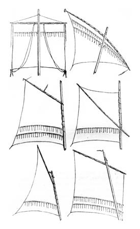 Sailing relates square, Latin sail, gaff sail, sail sprit, gunter Sailing, Sailing has bourcet or lug sail, vintage engraved illustration. Magasin Pittoresque 1842.