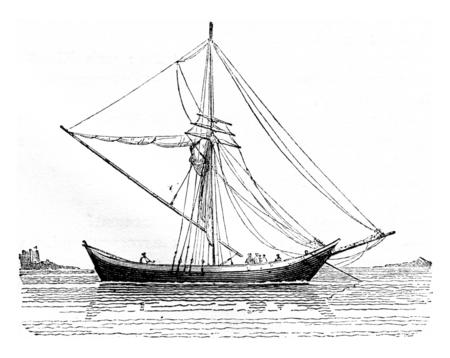 Doe Tchicki nat, gezien abeam, vintage gegraveerde illustratie. Magasin Pittoresque 1842. Stockfoto