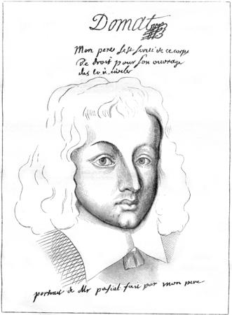 Portret van Pascal op de leeftijd van vijfentwintig of zesentwintig jaar, vintage gegraveerde illustratie. Magasin Pittoresque 1845.