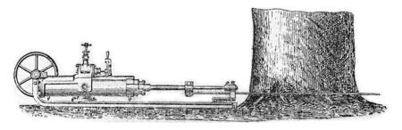 felling: Saw the mechanical felling, vintage engraved illustration. Stock Photo