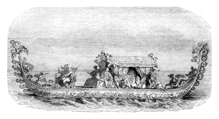 Gondola of the French ambassador to Venice in 1682, vintage engraved illustration. Magasin Pittoresque 1844.