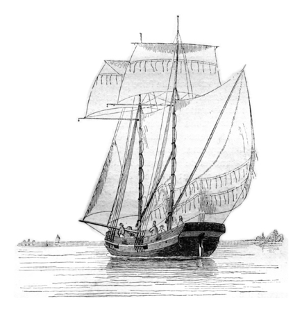 broad: Koff current broad reach, seen by hip portside, vintage engraved illustration. Magasin Pittoresque 1842. Stock Photo