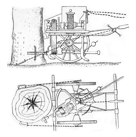 elevation: Elevation and plan an electric machine to kill, vintage engraved illustration. Stock Photo