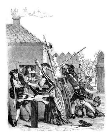 Distribuzione del pane al Louvre durante la carestia del 1709, vintage illustrazione incisa. Magasin Pittoresque 1842.