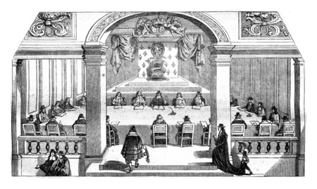 academie: Hall of sessions of the Academie francaise, the Louvre, the eighteenth century, vintage engraved illustration. Magasin Pittoresque 1845.