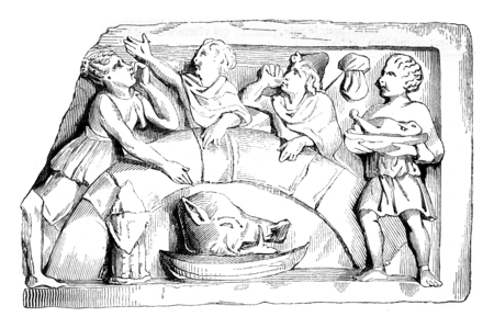 discovered: Gallic meal. Dafter a relief discovered in Paris, vintage engraved illustration. Magasin Pittoresque 1842.