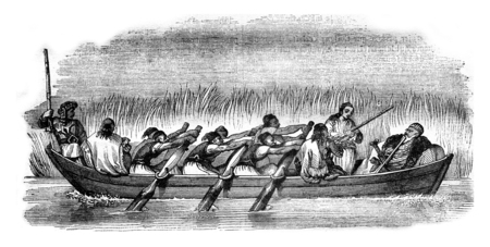 This check is three pairs of oars, set in motion by six rowers, vintage engraved illustration. Magasin Pittoresque 1841.