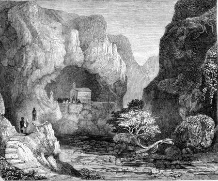 몰타, Mousta, 밸리 계곡에서 세인트 폴의 그 롯 트보기 빈티지 새겨진 된 그림. Magasin Pittoresque 1845.
