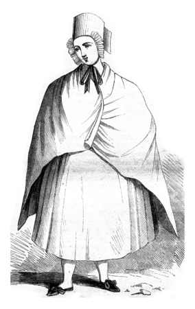 mourn: Costumes of the Lusatia, Clothing white half-mourning, vintage engraved illustration. Magasin Pittoresque 1845.