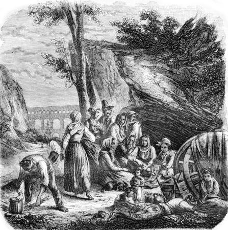 ボヘミアン フランス ヴィンテージには、図が刻まれています。マガシンドス Pittoresque 1842。