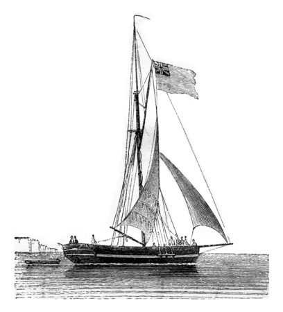 Yacht current drops, seen by the starboard quarter, vintage engraved illustration. Magasin Pittoresque 1842.