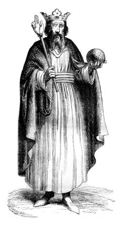 hugh: Hugh Capet, vintage engraved illustration. Magasin Pittoresque 1844.