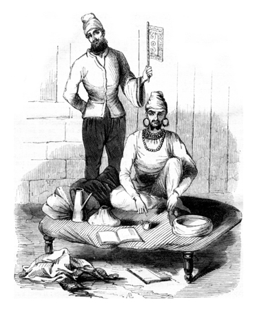 old man portrait: Portrait of the fakir who is buried alive, and after a drawing made in punjab, vintage engraved illustration. Magasin Pittoresque 1842.