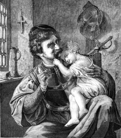 warrior: El guerrero y su hijo, empresa de neumáticos de Wagner cónsul en Berlín, cosecha ilustración grabada. Magasin Pittoresque 1845.