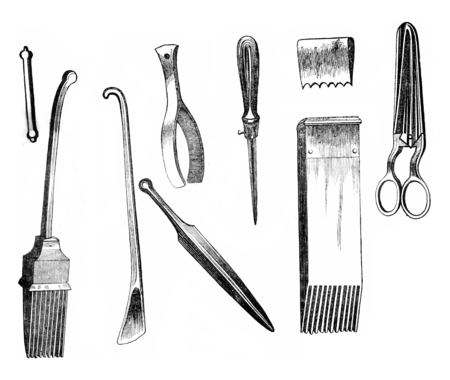 Employees tools for making tapestries and rugs, vintage engraved illustration. Magasin Pittoresque 1845. 版權商用圖片