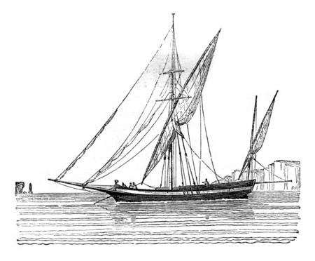 Tartane wets mening abeam, vintage gegraveerde illustratie. Magasin Pittoresque 1842.