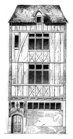 history architecture: House of Jouvenet in Rouen, vintage engraved illustration. Magasin Pittoresque 1842.