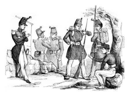 magasin pittoresque: New changes in equipment and clothing of the infantry, vintage engraved illustration. Magasin Pittoresque 1842.