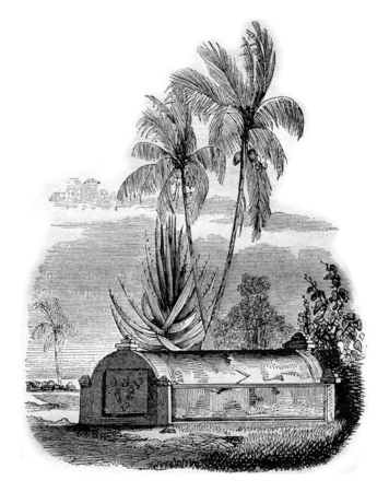 Malay tomb at Timor, vintage engraved illustration. Magasin Pittoresque 1842.