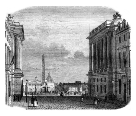 magasin pittoresque: View of the Place de la Concorde, vintage engraved illustration. Magasin Pittoresque 1845.