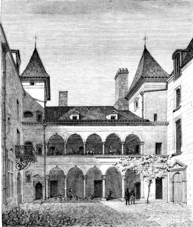 known: House known as Francois I, has Orleans, vintage engraved illustration. Magasin Pittoresque 1842.
