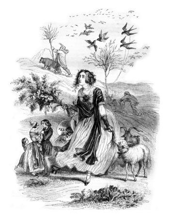 春、寓話は、ビンテージの刻まれた図。マガシンドス Pittoresque 1842。 写真素材 - 72361793