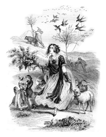 Spring, Allegory, vintage engraved illustration. Magasin Pittoresque 1842.