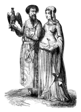 royal person: Lord and noble lady, vintage engraved illustration. Magasin Pittoresque 1844.
