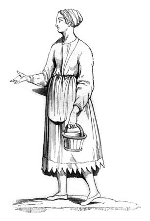 gallic: Gallic woman, vintage engraved illustration. Magasin Pittoresque 1842.