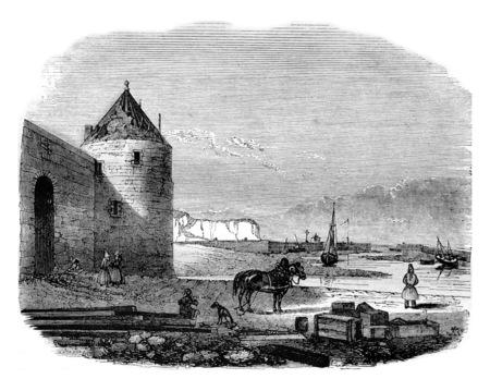 ル ・ アーヴル St Valery アン コー、セーヌ川から下の部ヴィンテージには、図が刻まれています。マガシンドス Pittoresque 1842。 写真素材