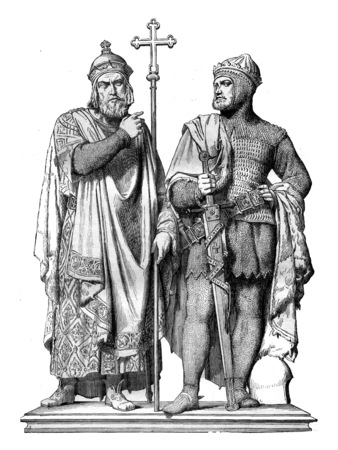 famous people: First Miecislas and Boleslaw the Great Bronze group by Rauch, in the Cathedral of Poznan, a city of the Prussian states, vintage engraved illustration. Magasin Pittoresque 1845.