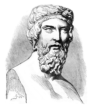 sculpture: Plato, vintage engraved illustration. Magasin Pittoresque 1842. Stock Photo