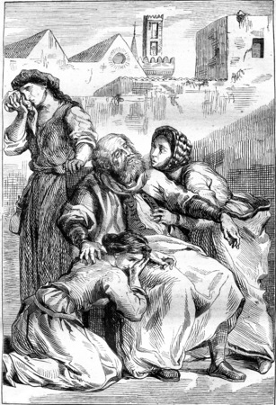 Goetz von Berlichingen, Act V: Death of Goetz, vintage engraved illustration. Magasin Pittoresque 1845.