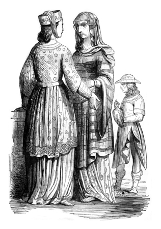Nobleman and Noble Ladies, vintage engraved illustration. Magasin Pittoresque 1844.