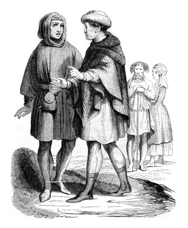 wager: Bourgeois and Artisans, vintage engraved illustration. Magasin Pittoresque 1844.