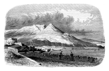 An Oran View, Algeria, vintage engraved illustration. Magasin Pittoresque 1844.