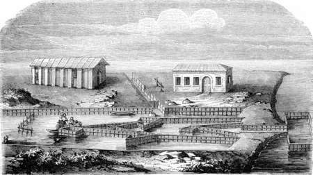 Lavoriero craft to take eels in the lagoon of Comacchio, vintage engraved illustration. Magasin Pittoresque 1844.