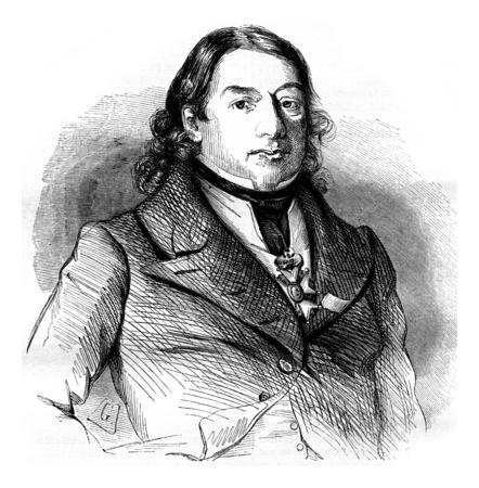 Dominique Jean Larrey, vintage engraved illustration. Magasin Pittoresque 1842.