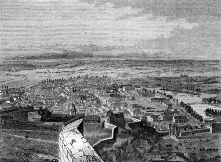 history architecture: Besancon, capital of the department of Doubs, View from the citadel, vintage engraved illustration. Magasin Pittoresque 1845. Stock Photo