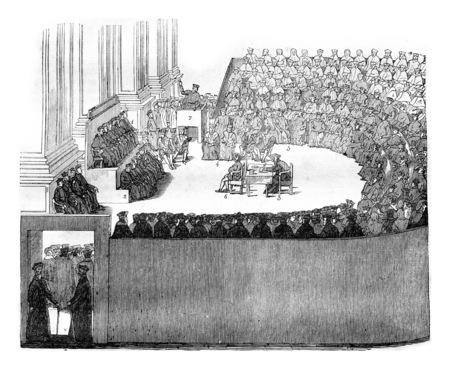 트 렌트 공의회, 빈티지 새겨진 일러스트 레이션. Magasin Pittoresque 1842 년 스톡 콘텐츠
