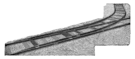 derail: The Decauville derail to instantly connect an auxiliary lane on any point of an existing path without cutting, vintage engraved illustration.