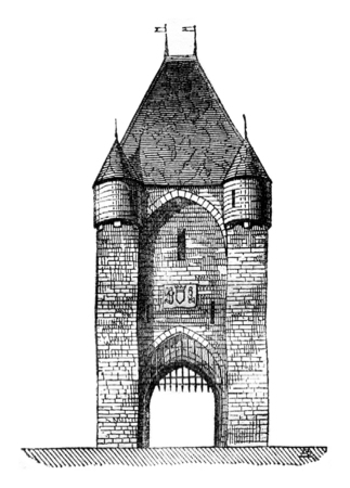 history architecture: Gate City Moret. vintage engraved illustration. Magasin Pittoresque 1841.