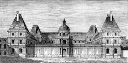 Paleis van Luxemburg, staan ??voor Marie de Medici, vintage gegraveerde illustratie. Magasin Pittoresque 1845. Stockfoto