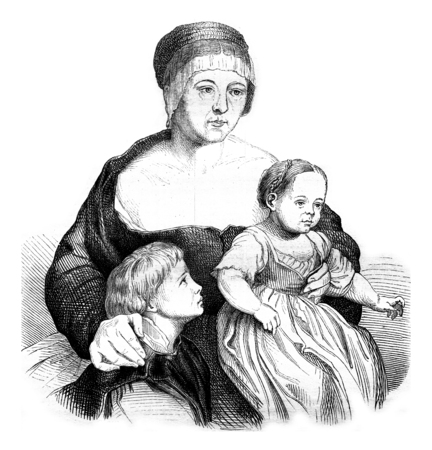 Family Holbein painting of this artist, retains a Bale, vintage engraved illustration. Magasin Pittoresque 1845.