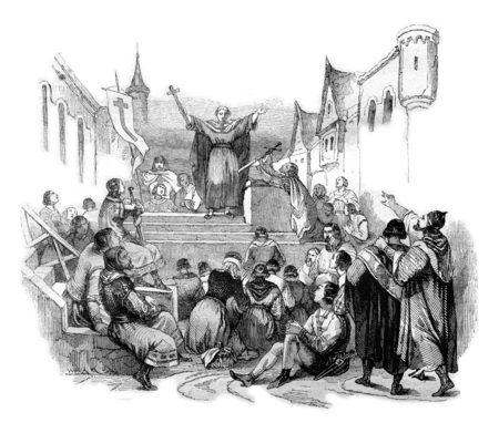 Peter the Hermit preached the First Crusade, vintage engraved illustration. Magasin Pittoresque 1844. Stock Photo